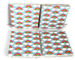 ceramic tile coasters pink green white and yellow rainbow