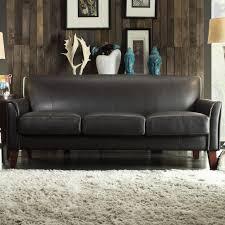 homesullivan dark brown vinyl microfiber sofa 409913pu 3tl sofa