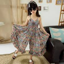 Floral Bohemian Beach Dress With Hair Band Kids Dresses For Girls Fashion Summer 2018
