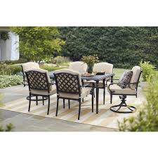 Hampton Bay Laurel Oaks Dark Brown 7-Piece Outdoor Dining Set With ... Klaussner Outdoor Delray 7piece Ding Set Hudsons Breeze Ding Chair Alinum Frame Harbour Suncrown Brown Wicker Fniture 5piece Square Modern Patio To Enjoy Lovely Warm Summer Awesome Patio Quay Chair By King Living Est Living Design Directory Room Charming Image Of For Hampton Bay Belcourt Metal With Walmartcom Bilbao Five Piece Falster Ikea I Love The Looks Of This Outdoor Ding Set Table 10 Easy Pieces Chairs In Pastel Colors Gardenista