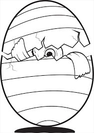 Fun Easter Coloring Page For Kids Of A Cracked Egg With Baby Chick Peeking Out
