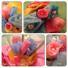 Kids Spring Crafts Tissue Paper Flower Bouquets