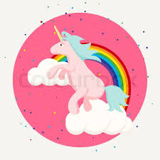 Cute Happy Unicorn And Rainbow Clouds Tshirt Design Pink Horse For Children Clothes Print Fabric Accessories