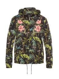 gucci detachable hood jungle print nylon bomber jacket in green