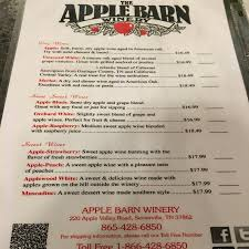 Wine Tasting Menu Picture of Apple Barn Winery Sevierville
