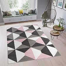 tapiso pimky hochflorteppich modern schlafzimmer schlafzimmer weiß rosa grau 200 x 300 cm grigio rosa