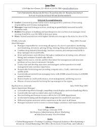 Resume Example For A Retail Job With Manager Sample To Create Astounding Salesperson Description 429