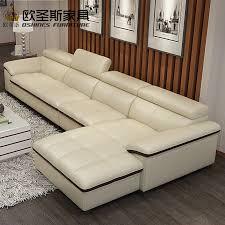 moderne schnitts wohnzimmer beige echtem leder sofa set freizeit l form sofa set leder top grain italien leder sofa 665