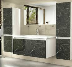 badmöbel set weiss schwarz marmor optik hochglanz badezimmermöbel 6 teilig bad 90 cm spiegel unterschrank waschtisch spiegel ablage 2x hochschränke