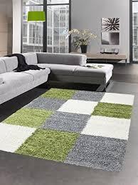 carpetia shaggy teppich hochflor langflor bettvorleger wohnzimmer teppich läufer karo grün grau creme größe 60x110 cm