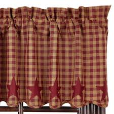 Primitive Kitchen Sink Ideas by Star And Check Scalloped Country Curtain Valance Navy Black Or
