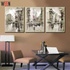 Canvas Printings Retro City Street Landscape 3 Piece Modern Style Cheap Pictures Decorative Wall Art No Frame Prints Gift In Painting Calligraphy From