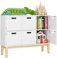 homecho kommode kinderzimmer bücherregal schrank spielzimmer sideboard in weiß mit 6 fächern spielzeugschrank aufbewahrung für schlafzimmer 100 30
