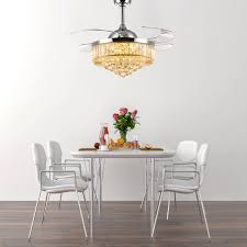 Crystal Ceiling Fan With Retractable Blades Chandelier