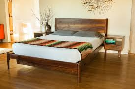 Danish Modern Storage Bed with Attached Night Stands Furniture by
