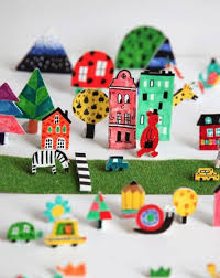 CUTE IDEA Let Kids Draw Color And Cut 3D Paper City Farm Zoo Forest Or Any Other Place To Use As Miniature Video Scenario Puppets Can Be Handled From