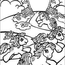 Ponies Playing Music Running Coloring Page