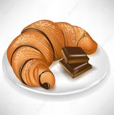 Croissant With Chocolate Pieces On Plate Stock Vector