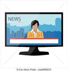 News Clipart Tv Broadcasting Vector App On Monitor
