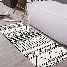 haocoo badteppich 69 8 x 119 4 cm modern geometrisch samt rutschfest tribal stil badematte weiche luxus mikrofaser maschinenwaschbar
