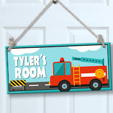 100 Fire Truck Kids Personalized Sign For WallDoor Theme Room Decor