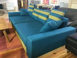 big sofa blau gelb polster garnitur