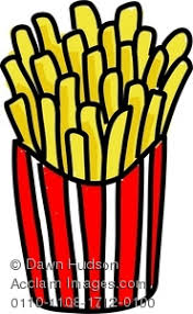 Clipart Image of A Whimsical Drawing of a Carton of French Fries
