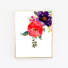 Printable Wall Art Prints Floral Print Watercolor Painting Flowers Shabby Chic Decor Digital Download Deco