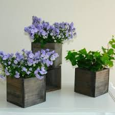 Wood Box Woodland Planter Flower Rustic Pot Square Vases For Wedding Wooden Boxes Chic