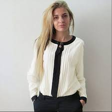 New Trendy Women Blouses Loose Chiffon Collar Tops Long Sleeve Casual Shirts Arrivals 2017