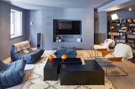 modernes wohnzimmer mit grauen wänden bild kaufen