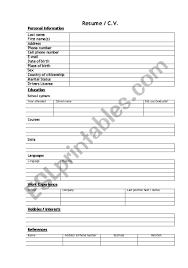 CV / Resume (blanc) Form - ESL Worksheet By Ruud.castelijns ... 6 Best Of Worksheets For College Students High Resume Worksheet School Student Template Examples Free Printable Resume Mplate Highschool Students Netteforda Fill In The Blank Rumes Ndq Perfect To Get A Job Federal Worksheet Mbm Legal Pin By Resumejob On Printable Out Salumguilherme