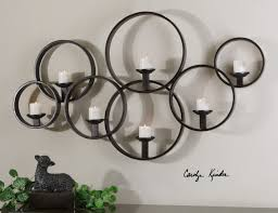 modern black iron linking circle wall candleholder candle sconce