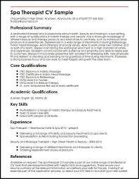 Spa Therapist CV Sample