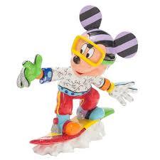 enesco romero britto disney mickey mouse snowboarding figurine