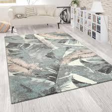 wohnzimmer teppich kurzflor grün rosa bunt pastellfarben blumen palmen design grösse 200x280 cm