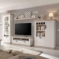 scandi landhaus wohnzimmermöbel set nedita in weiß 4 teilig