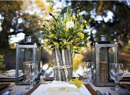 Rustic Wedding Centerpieces Ideas Wood Branch Vase With Flower Bouquet And Lanterns Unique