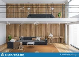 hölzernes wohnzimmer mit bett und sofa moderne möbel im