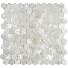 white hexagon pearl shell tile tilehub
