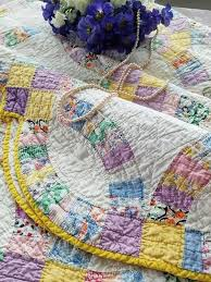 Gorgeous 1930s Purple Yellow Double Wedding Ring QUILT 86