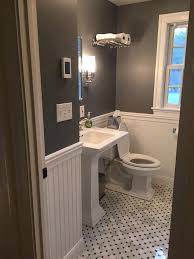 Tiny Bathroom Remodel. Paint Is Rock Gray By Benjamin Moore. Tile ... Bathroom Shelving Units Shower Rack Walmart Pottery With Barn Canfield Hdware Rejuvenation Tile Tips For A Better Train Chrome Luggage Towel Railway Shelf With Bar Au Pottery Barn Train Rack Ideas Pinterest 2perfection Decor Ensuite Reno Reveal Taymor 02d1047corb Paris Hotel Or Style Extraordinary Otographs Mirror New Vintage Ashland Fixture Ebay Wall Mounted Wine Glass Your Bath Hotelstyle
