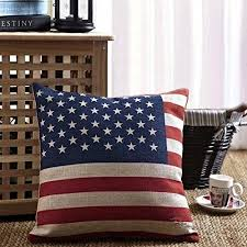 Buy Patriotic American Flag Accent Decorative Linen Cotton Throw