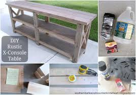 ana white diy rustic x console table diy projects