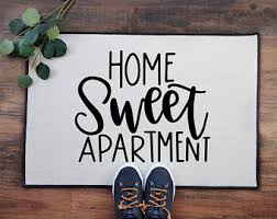 Home Sweet Apartment Doormat Indoor Outdoor Rug Housewarming Gift Front Porch Decor