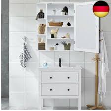 costway badezimmer spiegelschrank mit tür 65x17x63 cm weiß hw56729
