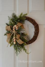 Rustic Christmas Wreath With Candy Cane