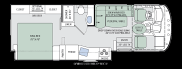 Bath And Half Class A RV With Overhead Bunk Rear Bathroom