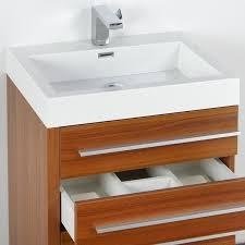 fresca livello 24 inch teak bathroom vanity and medicine cabinet