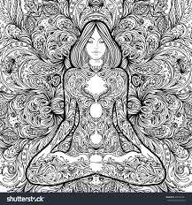 Pretty Girl In Lotus Yoga Pose Over Ornate Round Mandala Pattern Concept Decorative